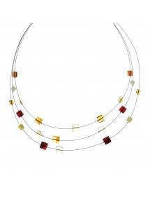 Necklace 3 rows cable decorated with amber and silver clasp stones 3170554 Nature d'Ambre 39,90 €