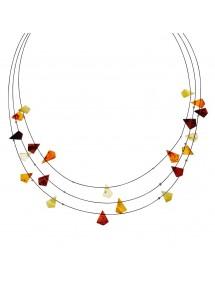Collier 3 rangs câbles ornés de pierres d'ambre triangle 3170556 Nature d'Ambre 32,90€