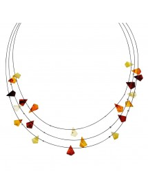 Necklace 3 rows of cables decorated with stones of amber triangle 3170556 Nature d'Ambre 32,00 €