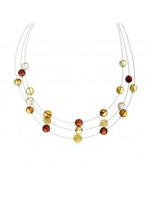 Collier de pierres rondes en ambre sur 3 rangs de fil nylon 3170625 Nature d'Ambre 49,90€
