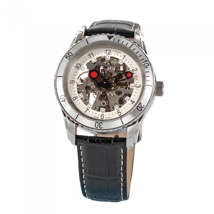 Montre automatique LAVAL boîtier acier et bracelet en cuir de buffle 755228 Laval 1878 189,00€