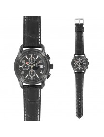 LAVAL watch, chronograph with black leather strap, waterproof 50 m 755213 Laval 1878 199,00€