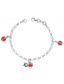 Bracelet en argent rhodié avec 3 coccinelles rouge 37,00€ 37,00€