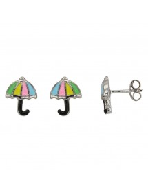 Earrings shaped multicolored umbrella rhodium silver 3131489 Suzette et Benjamin 39,90 €