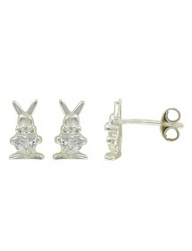 Earrings rhodium silver earrings with white rabbit and oxide 3131396 Suzette et Benjamin 34,00€