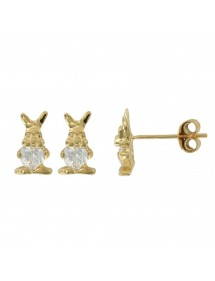 Gold plated earrings with rabbit decorated with zirconium oxides 3230151 Suzette et Benjamin 34,00€