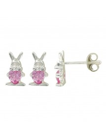 Earrings in rhodium silver with rabbit and pink oxide 3131397 Suzette et Benjamin 34,00€