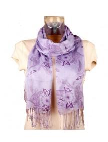 Foulard léger lilas fleurs violettes