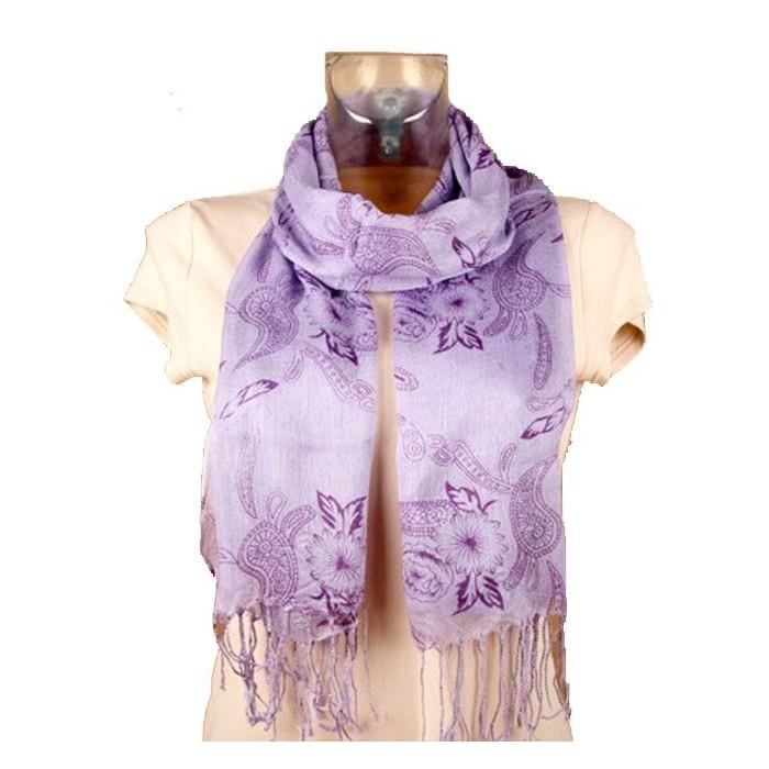 Foulard léger lilas fleurs violettes 47454 Paris Fashion 11,90€