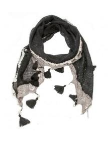 Echarpe d'hiver noire et grise