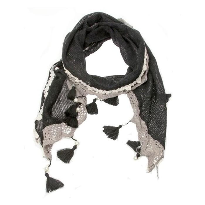 Echarpe d'hiver noire et grise 47317 Paris Fashion 17,90€