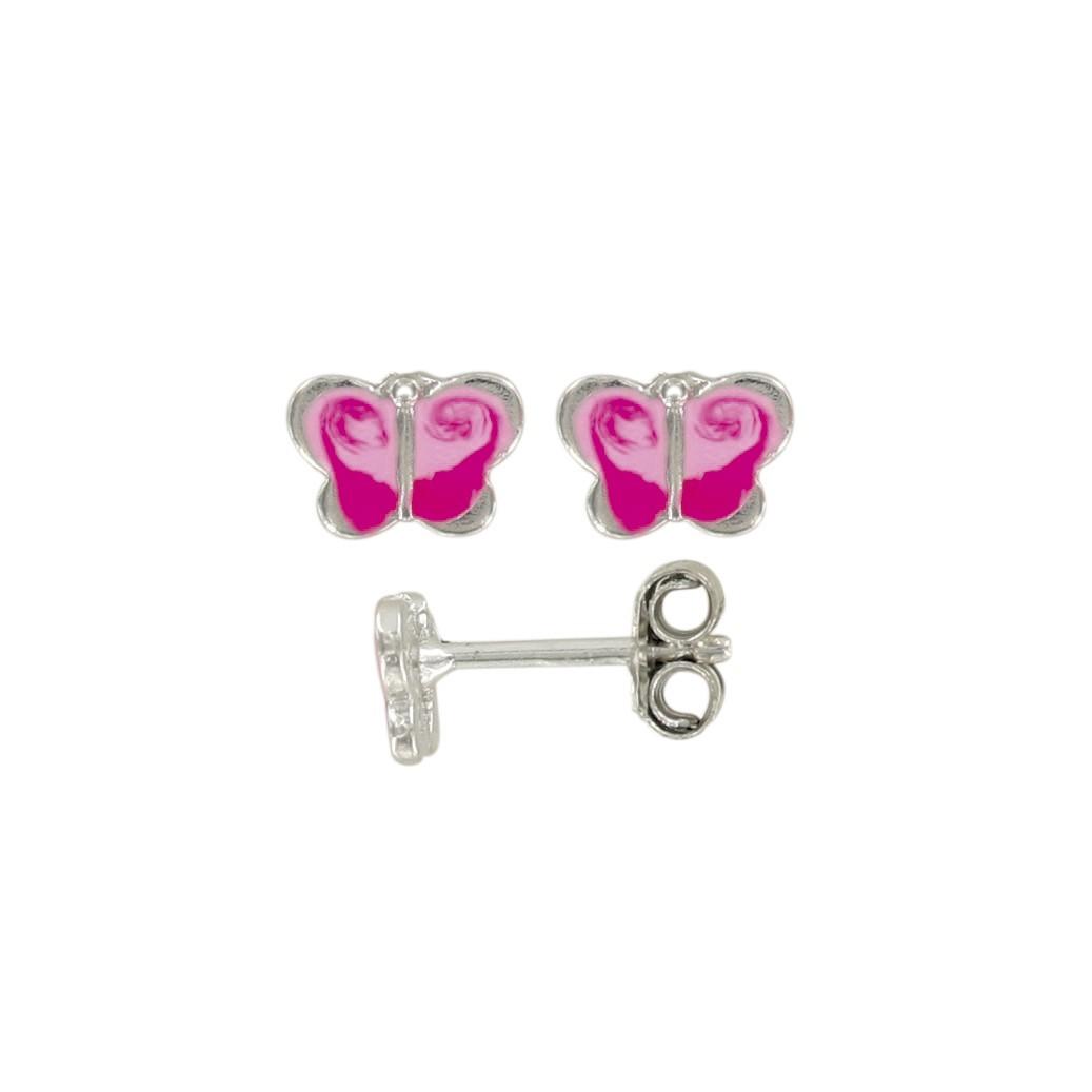 8b7decce7c49 Pendientes mariposa rosa en rodio plata y esmalte
