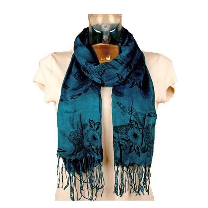 Foulard léger outremer fleurs noire 47455 Paris Fashion 11,90€