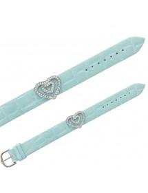Bracelet Laval imitation croco, 2 cœurs en pierres synthétiques - Bleu ciel 16,00€ 16,00€