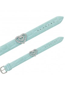 Laval imitation croco bracelet, 2 hearts in synthetic stones - Sky blue 473145 Laval 1878 16,00 €