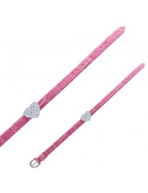 Bracelet Laval imitation croco avec cœur - Parme