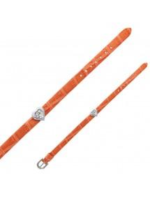Bracelet Laval imitation croco, cœur en pierres synthétiques - Rouille 14,00€ 14,00€