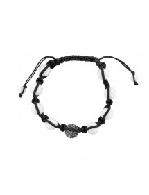 Black shamballa bracelet, gray crystal ball and white agate balls 888395 Laval 1878 29,90 €