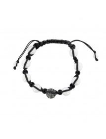 Schwarzes Shamballa-Armband, graue Kristallkugel und weiße Achatkugeln 888395 Laval 1878 29,90€