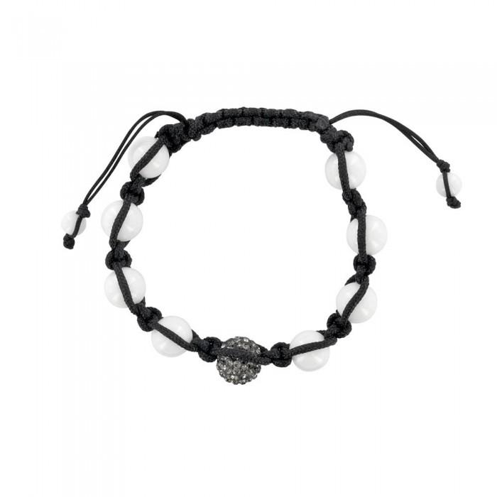 Black shamballa bracelet, gray crystal ball and white agate balls 888395 Laval 1878 29,90€