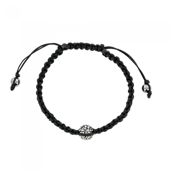Black cord shamballa bracelet with crystal ball on macrame 888384 Laval 1878 29,90 €
