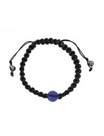 Bracelet réglable avec boules de cristal bleu et hématite