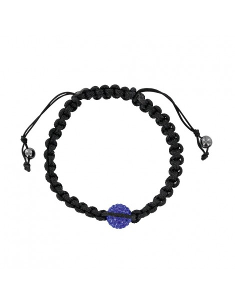 Black shamballa bracelet with blue crystal ball and hematite 888377 Laval 1878 29,90€