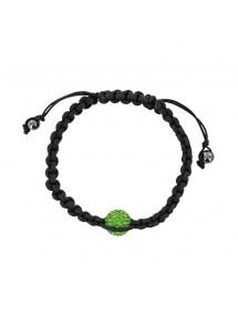 Bracelet cordon noir cristal vert sur macramé