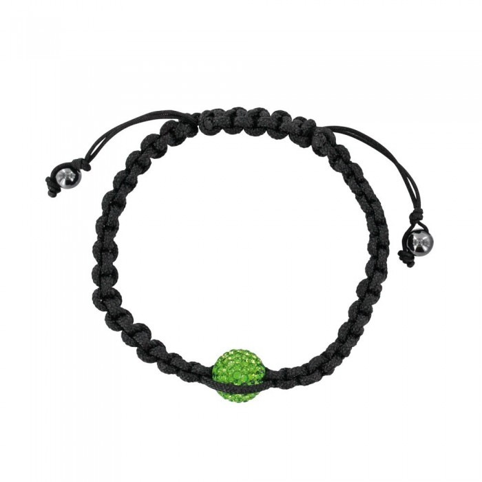 Black shamballa bracelet with green ball on macramé and hematites 888378 Laval 1878 29,90€