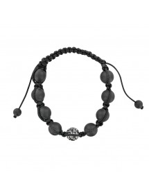 Black cord shamballa bracelet with crystal ball and black clay 888402 Laval 1878 29,90 €