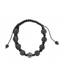 Bracelet cordon noir avec boule cristal et argile
