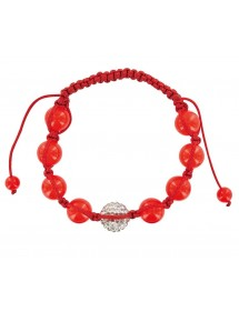 Bracelet cordon rouge avec cristal et boules jade rouge