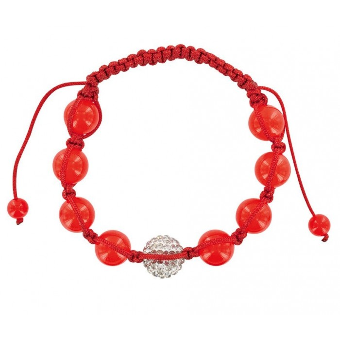 Red shamballa bracelet, white crystal ball and red jade 888390 Laval 1878 29,90€