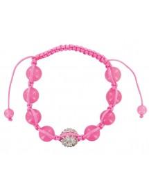 Bracelet cordon rose avec cristal et boules jade rose