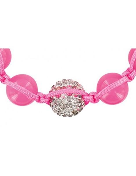 Pink shamballa bracelet, white crystal ball and pink jade 888391 Laval 1878 29,90€