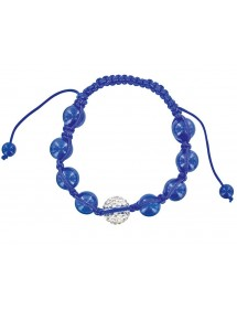 Bracelet cordon bleu avec cristal et boules jade bleu