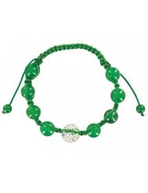 Bracelet cordon vert avec cristal et boules jade vert