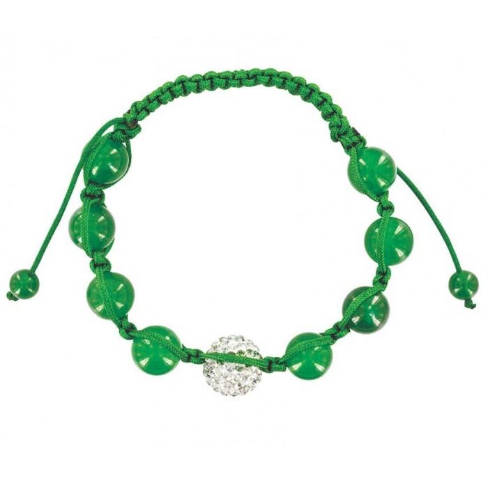 Green shamballa bracelet, white crystal ball and green jade 888393 Laval 1878 29,90€