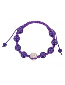 Bracelet cordon violet avec cristal et boules jade violet