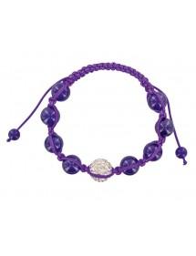 Bracelet shamballa violet, boule de cristal blanche et de jade violet 888401 Laval 1878 29,90€
