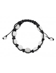 Black cord shamballa bracelet, crystal ball and white agate 888394 Laval 1878 29,90 €