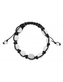 Bracelet cordon noir boules de cristal et d'agate blanche