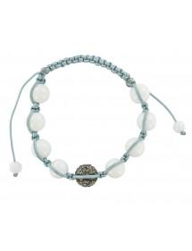 Bracelet cordon gris boules de cristal gris et Jade blanche