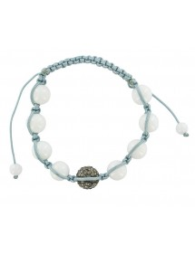 Gray shamballa cord bracelet, crystal ball and white jade balls 888398 Laval 1878 29,90 €