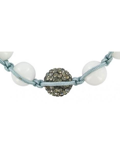 Gray shamballa cord bracelet, crystal ball and white jade balls 888398 Laval 1878 29,90€