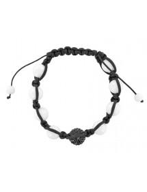 Bracelet cordon noir boules de cristal noir et Jade blanche