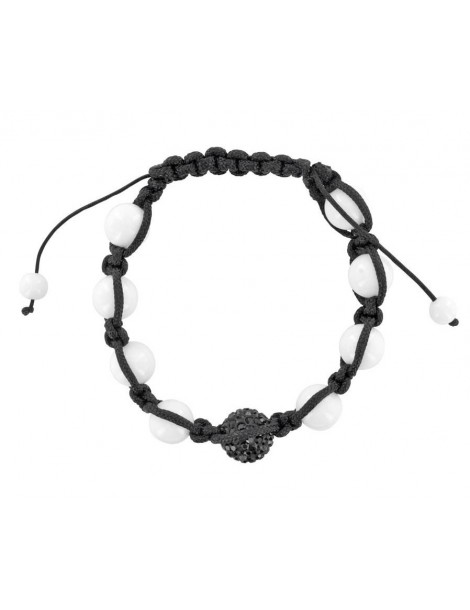 Black shamballa bracelet, black crystal ball and white jade 888397 Laval 1878 29,90€