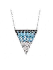Collier en argent triangle en pierres et oxydes de zirconium