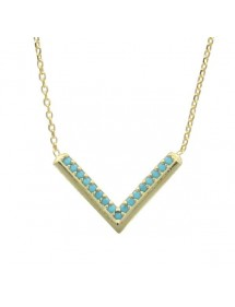 Necklace mini-chevron - gilded silver and synthetic stones 39,90 € 31,90 €