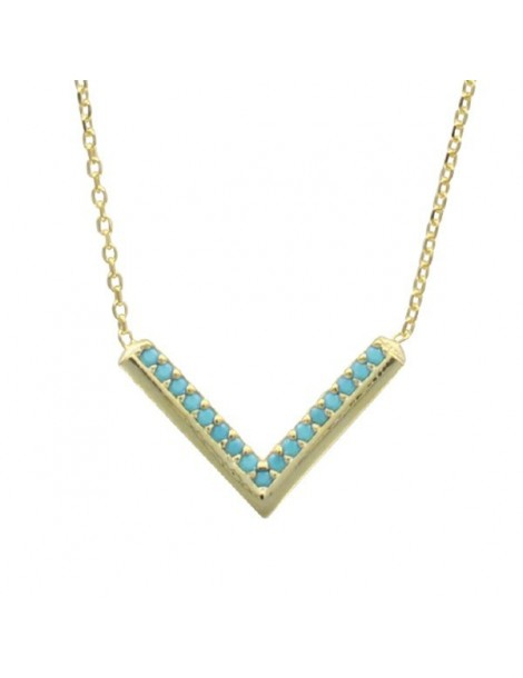 Necklace mini-chevron - gilded silver and synthetic stones 317433D Laval 1878 39,90€